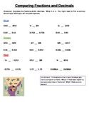 Comparing Fractions or Decimals Leveled Station