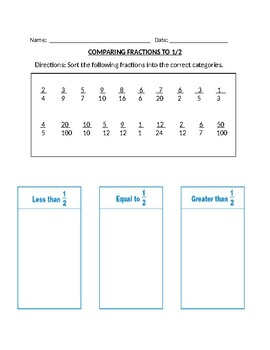 Comparing Fractions to 1/2 test worksheet center quiz 3rd 4th 5th common core