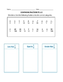 Comparing Fractions to 1/2 test worksheet center quiz 3rd