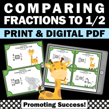 Comparing Fractions Task Cards, 4th Grade Math Review Games SCOOT