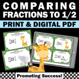 Comparing Fractions to 1/2, 4th Grade Fraction Review