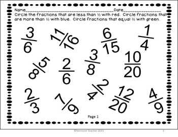 Comparing Fractions with Benchmarks Worksheets  CCSS Math 3.NF.A.3.D