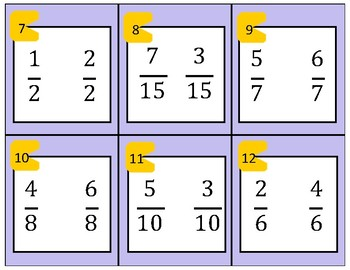 Comparing Fractions with Common Denominators and like Numerators