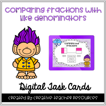 Comparing Fractions with Like Denominators Digital Task Cards