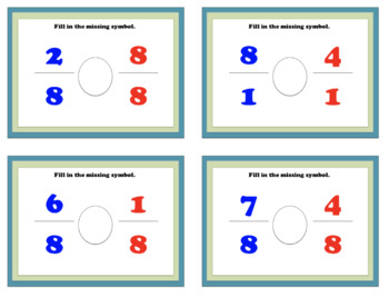 Comparing Fractions with Like Denominators - War Game