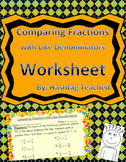 Comparing Fractions with Like Denominators Worksheet Assessment
