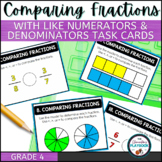 Comparing Fractions with Like Denominators and Numerators Task Cards
