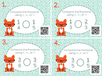 Comparing Fractions with Like Numerators & Denominators Task Cards with QR Codes
