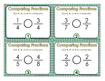 Comparing Fractions with Like Numerators or Denominators Task Cards - 3.NF.A.3.D
