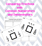 Comparing Fractions with Like Numerators or Like Denominators Task Cards