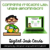 Comparing Fractions with Unlike Denominators Digital Task Cards
