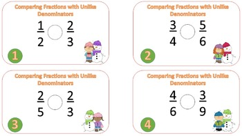 Comparing Fractions with Unlike Denominators Task Card {Winter Theme]
