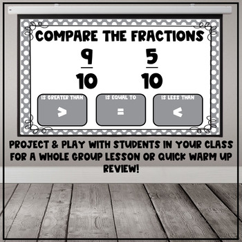 Comparing Fractions with the Same Numerator or Denominator Interactive PDFs