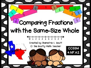 Comparing Fractions with the Same-Size Whole Freebie