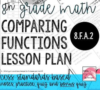 Comparing Functions Notes/Homework 8.F.A.2 Go Math