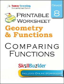 Comparing Functions Printable Worksheet, Grade 8
