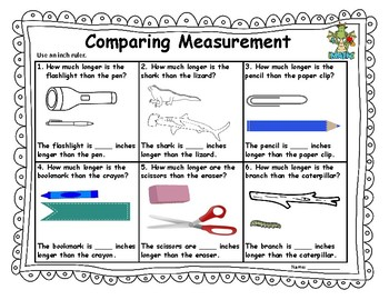Comparing Inches *No Prep Printable*