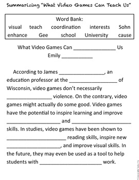 Comparing Informational Texts: Connection Between Video Games & Violence