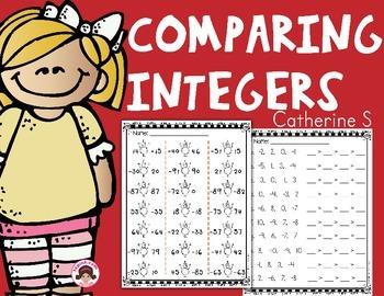 Comparing Integers Worksheets