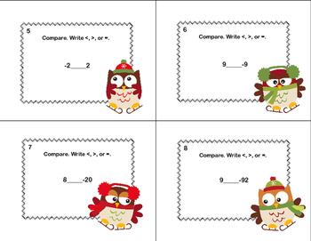 Comparing Integers-40 Math Task Cards-Grade 6-Ice Skating Owls