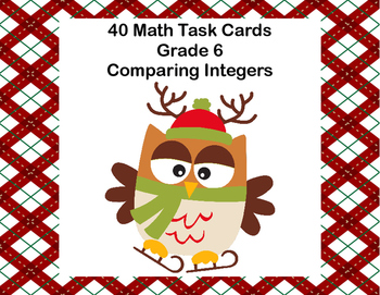 Comparing Integers-40 Math Task Cards-Grade 6-Ice Skating Owls