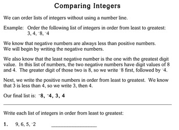 Comparing Integers, 4th grade - worksheets - Individualized Math