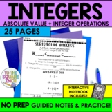 Comparing Integers, Absolute Value & Operations with Integers Notes & Activities
