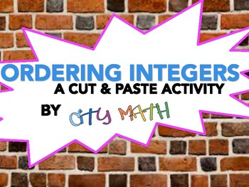 Comparing Integers Cut and Paste Activity