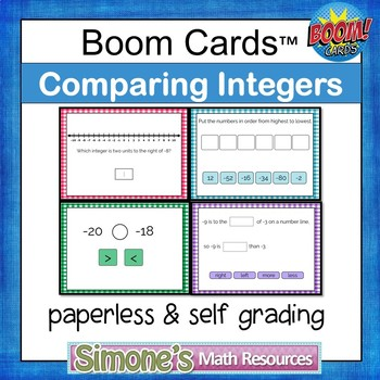 Comparing Integers Digital Interactive Boom Cards