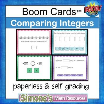 Comparing Integers Digital Interactive Boom Cards