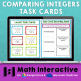 Comparing Integers Digital Task Cards