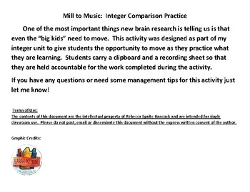 Comparing Integers:  Moving to Music