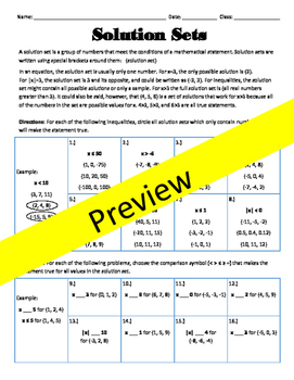 Comparing Integers / Solution Sets