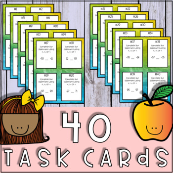 Comparing Integers Task Cards