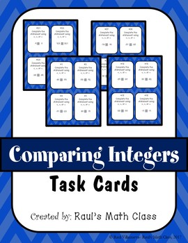 Comparing Integers Task Cards (Set 1)