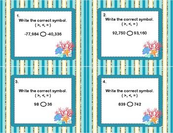 Comparing Integers Using Comparison Symbols-Coral Theme