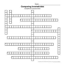 Comparing Invertebrates Crossword Puzzle