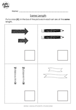 Pre-K Math: Comparing Length Worksheet