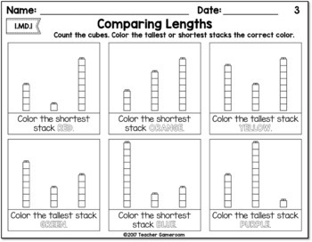comparing lengths worksheet by teacher gameroom tpt. Black Bedroom Furniture Sets. Home Design Ideas
