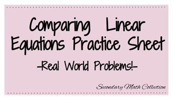 Comparing Linear Equations Worksheet