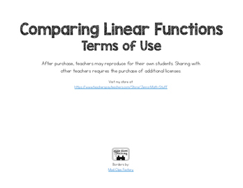 Comparing Linear Functions Activity
