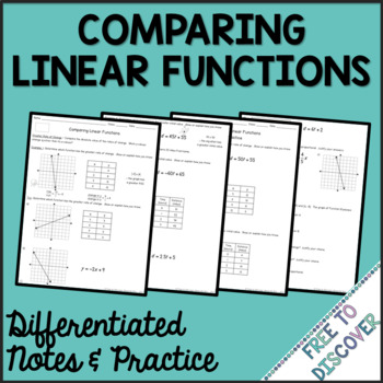 Comparing Linear Functions Differentiated Notes and Practice