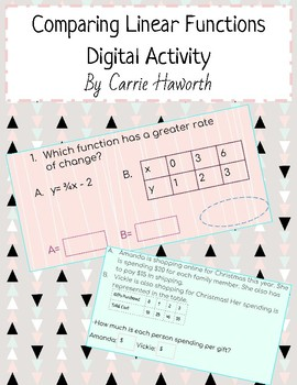 Comparing Linear Functions Digital Activity