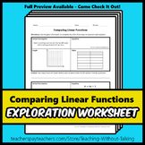 Comparing Linear Functions Worksheet