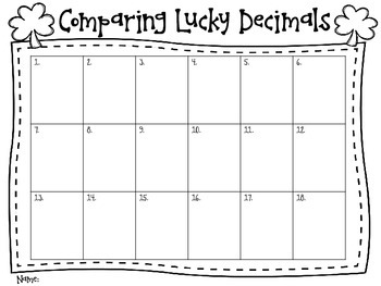 "Comparing ""Lucky"" Decimals Task Card FREEBIE"