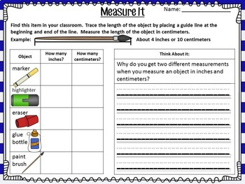 Comparing Measurements: Inches & Centimeters Bundle Lesson Plans & Center Tasks