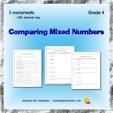 Comparing Mixed Numbers - 3 worksheets with key - Grade 4 - CCSS