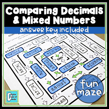 Comparing Mixed Numbers And Decimals Worksheet By A Double Dose Of Dowda