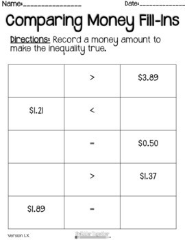 Comparing Money Fill-Ins