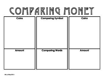 Comparing Money Work Mat